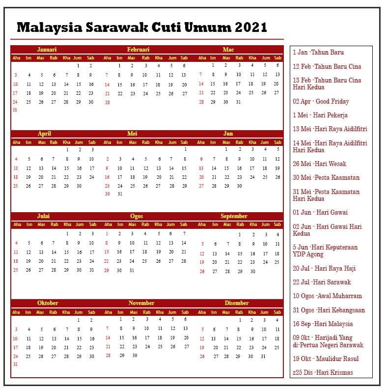 Sarawak Cuti Umum 2021