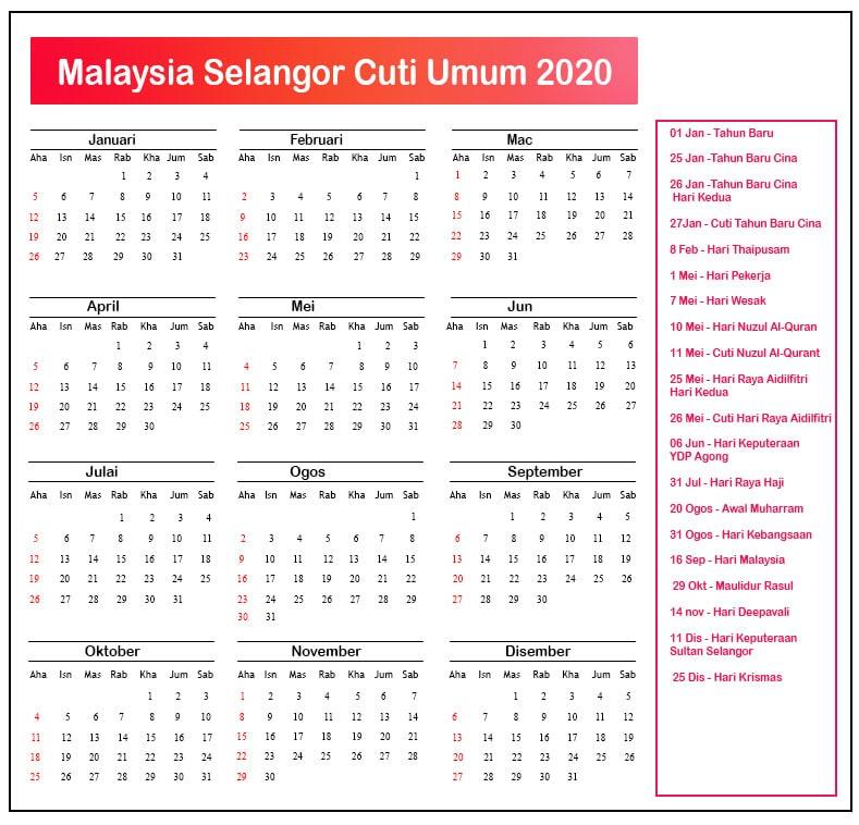 Selangor Cuti Umum 2020