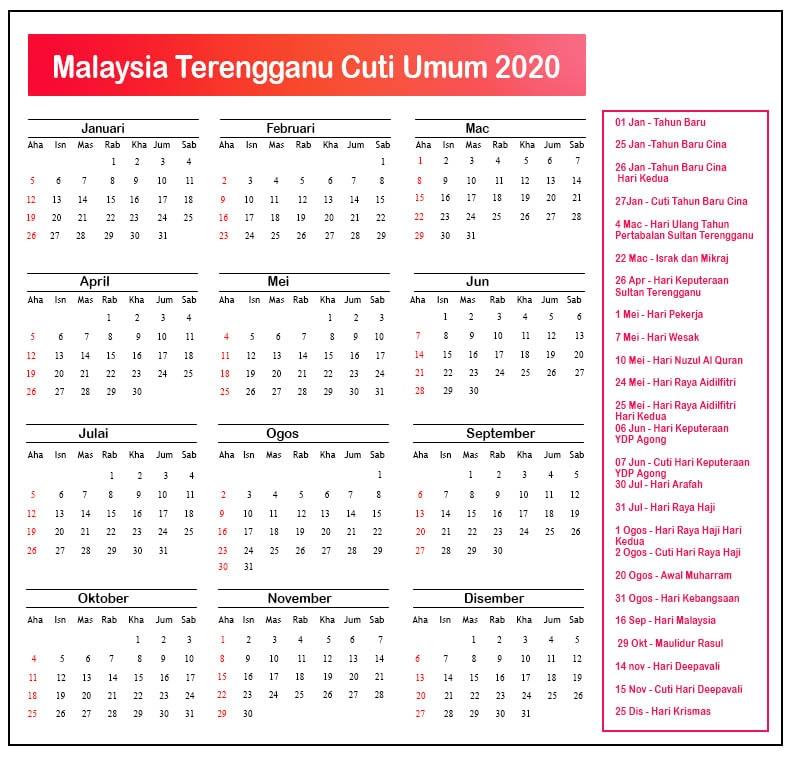 Terengganu Cuti Umum Kalendar 2020
