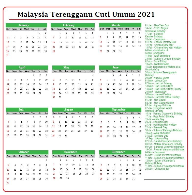 Terengganu Cuti Umum 2021